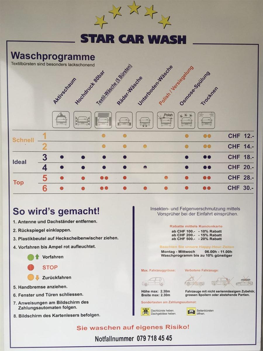 Waschprogramm und Preise